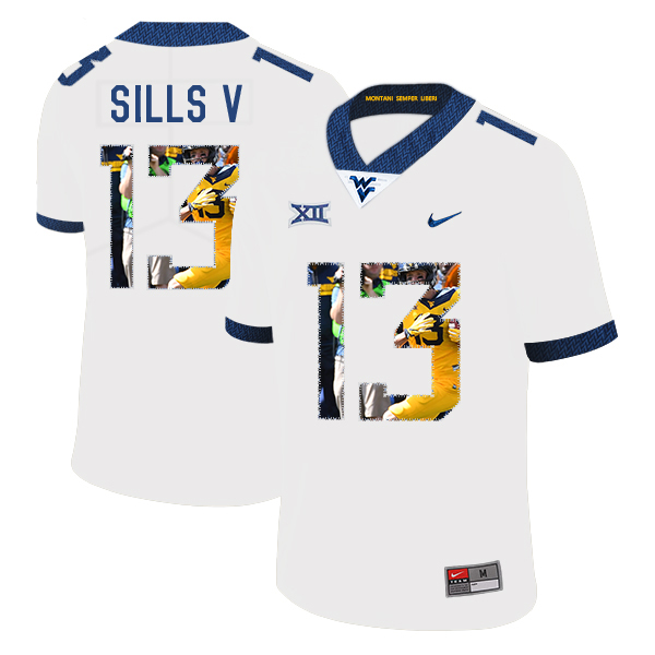 West Virginia Mountaineers 13 David Sills V White Fashion College Football Jersey