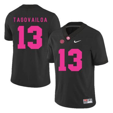 Alabama Crimson Tide 13 Tua Tagovailoa Black 2017 Breast Cancer Awareness College Football Jersey