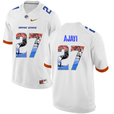 Boise State Broncos 27 Jay Ajayi White With Portrait Print College Football Jersey