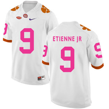 Clemson Tigers 9 Travis Etienne Jr White Breast Cancer Awareness College Football Jersey