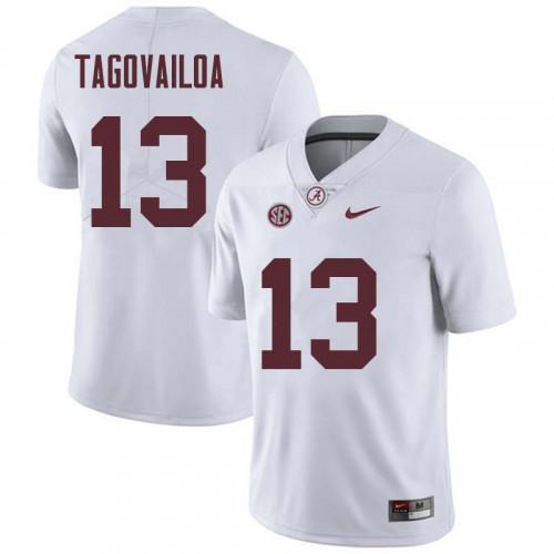 Men's Alabama Crimson Tide #13 Tua Tagovailoa White NCAA Football Jersey