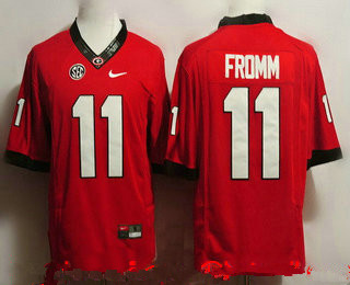Men's Georgia Bulldogs #11 Jake Fromm Red Limited College Football Stitched Nike NCAA Jersey
