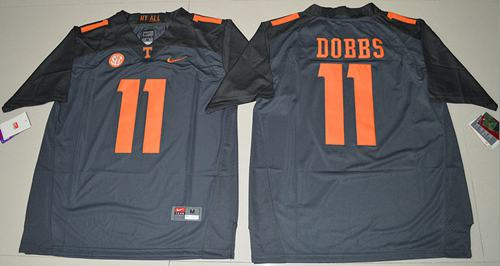 Tennessee Vols #11 Joshua Dobbs Grey Limited Stitched NCAA Jersey