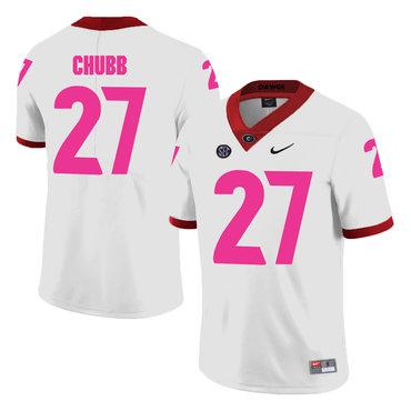 Georgia Bulldogs 27 Nick Chubb White Breast Cancer Awareness College Foot