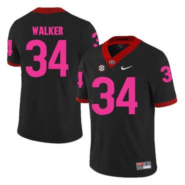 Georgia Bulldogs 34 Herschel Walker Black Breast Cancer Awareness College Football Jersey