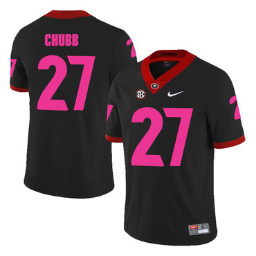 Georgia Bulldogs 27 Nick Chubb Black Breast Cancer Awareness College Football Jersey