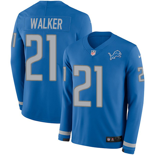 Nike Lions #21 Tracy Walker Blue Team Color Men's Stitched NFL Limited Therma Long Sleeve Jersey