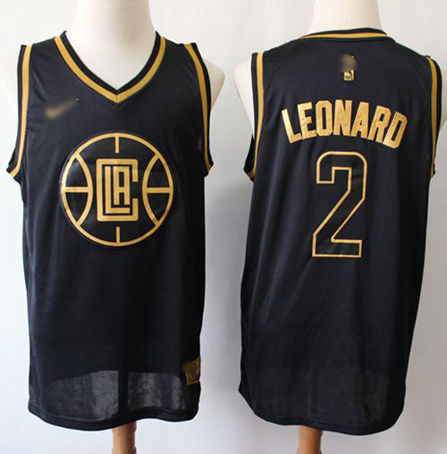 Nike Clippers #2 Kawhi Leonard Black Gold NBA Swingman Limited Edition Jersey