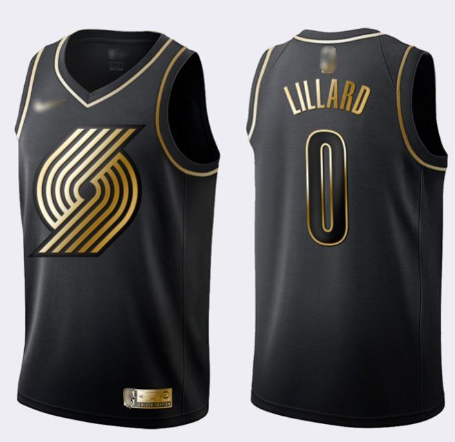 Nike Blazers #0 Damian Lillard Black Gold NBA Swingman Limited Edition Jersey