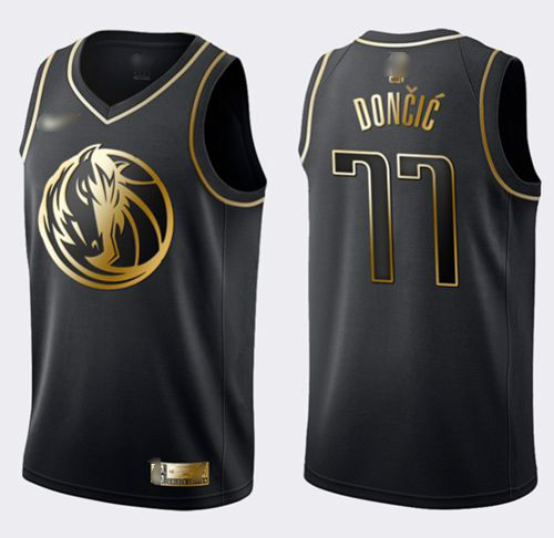 Nike Mavericks #77 Luka Doncic Black Gold NBA Swingman Limited Edition Jersey