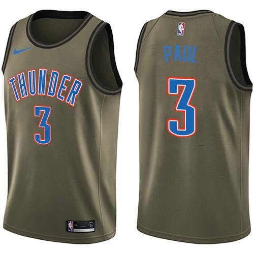 Nike Thunder #3 Chris Paul Green NBA Swingman Salute to Service Jersey