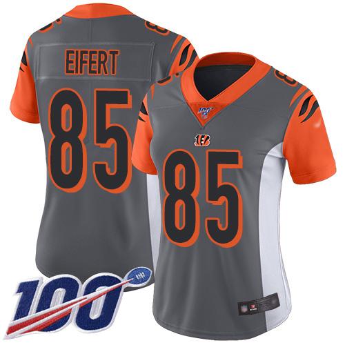 Nike Bengals #85 Tyler Eifert Silver Women's Stitched NFL Limited Inverted Legend 100th Season Jersey