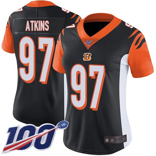 Nike Bengals #97 Geno Atkins Black Team Color Women's Stitched NFL 100th Season Vapor Limited Jersey