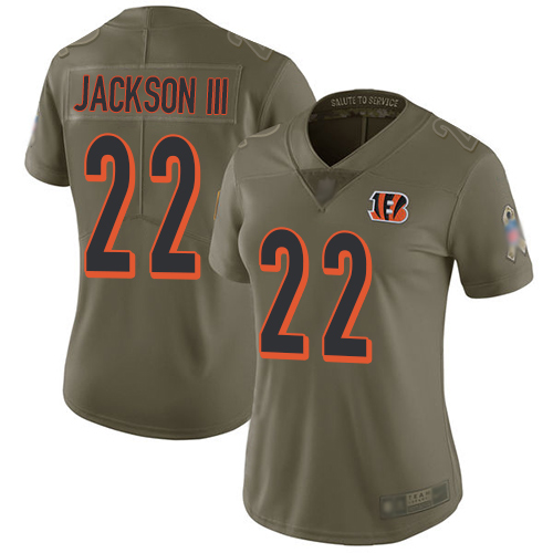 Nike Bengals #22 William Jackson III Olive Women's Stitched NFL Limited 2017 Salute to Service Jersey