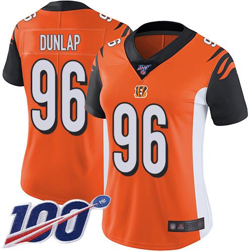 Nike Bengals #96 Carlos Dunlap Orange Alternate Women's Stitched NFL 100th Season Vapor Limited Jersey
