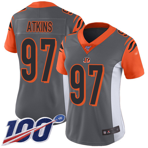 Nike Bengals #97 Geno Atkins Silver Women's Stitched NFL Limited Inverted Legend 100th Season Jersey