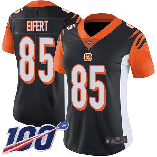 Nike Bengals #85 Tyler Eifert Black Team Color Women's Stitched NFL 100th Season Vapor Limited Jersey