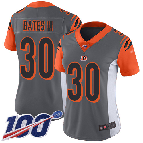 Nike Bengals #30 Jessie Bates III Silver Women's Stitched NFL Limited Inverted Legend 100th Season Jersey