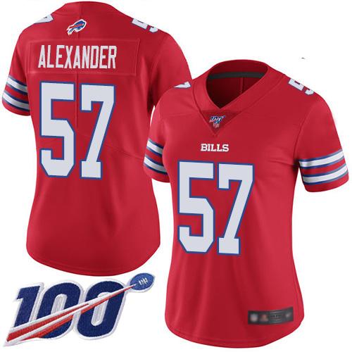 Nike Bills #57 Lorenzo Alexander Red Women's Stitched NFL Limited Rush 100th Season Jersey