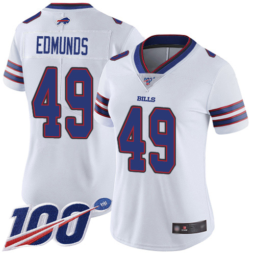 Nike Bills #49 Tremaine Edmunds White Women's Stitched NFL 100th Season Vapor Limited Jersey