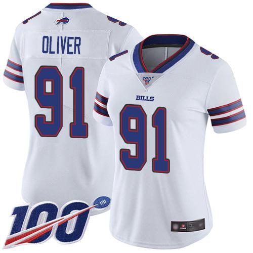 Nike Bills #91 Ed Oliver White Women's Stitched NFL 100th Season Vapor Limited Jersey