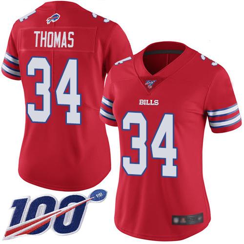 Nike Bills #34 Thurman Thomas Red Women's Stitched NFL Limited Rush 100th Season Jersey