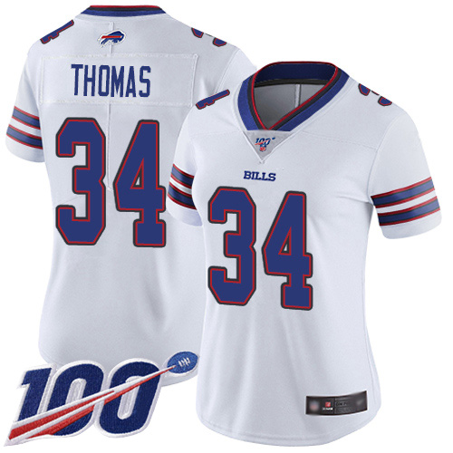 Nike Bills #34 Thurman Thomas White Women's Stitched NFL 100th Season Vapor Limited Jersey