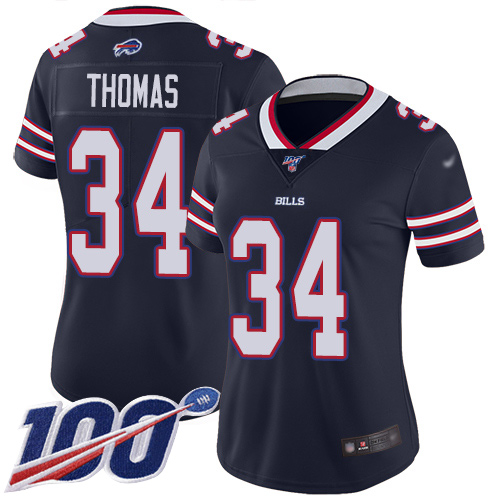 Nike Bills #34 Thurman Thomas Navy Women's Stitched NFL Limited Inverted Legend 100th Season Jersey