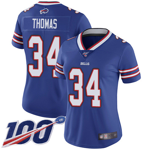 Nike Bills #34 Thurman Thomas Royal Blue Team Color Women's Stitched NFL 100th Season Vapor Limited Jersey