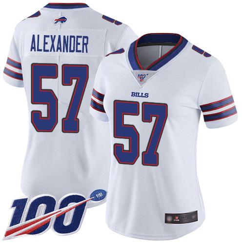 Nike Bills #57 Lorenzo Alexander White Women's Stitched NFL 100th Season Vapor Limited Jersey
