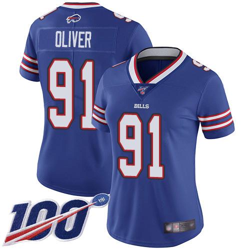 Nike Bills #91 Ed Oliver Royal Blue Team Color Women's Stitched NFL 100th Season Vapor Limited Jersey