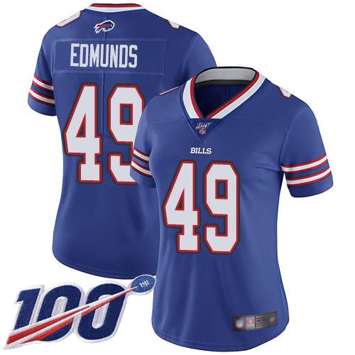 Nike Bills #49 Tremaine Edmunds Royal Blue Team Color Women's Stitched NFL 100th Season Vapor Limited Jersey
