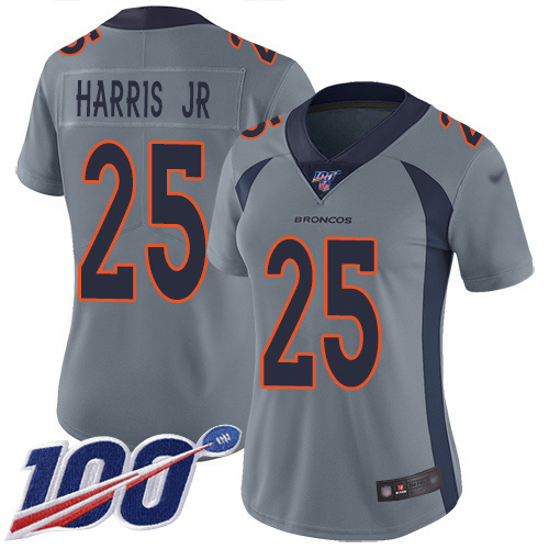 Nike Broncos #25 Chris Harris Jr Gray Women's Stitched NFL Limited Inverted Legend 100th Season Jersey