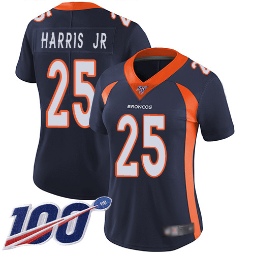 Nike Broncos #25 Chris Harris Jr Navy Blue Alternate Women's Stitched NFL 100th Season Vapor Limited Jersey