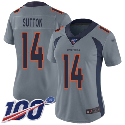 Nike Broncos #14 Courtland Sutton Gray Women's Stitched NFL Limited Inverted Legend 100th Season Jersey