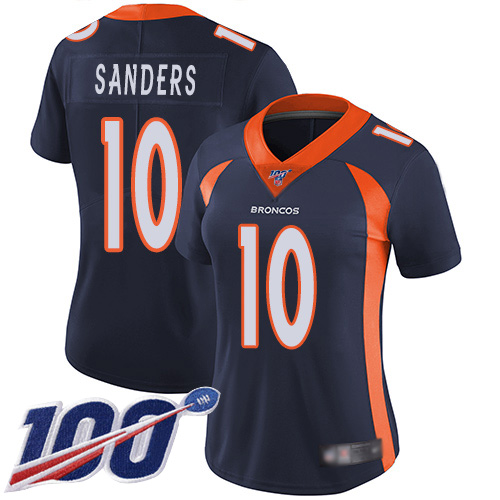 Nike Broncos #10 Emmanuel Sanders Navy Blue Alternate Women's Stitched NFL 100th Season Vapor Limited Jersey