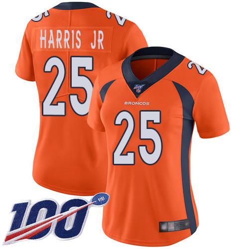 Nike Broncos #25 Chris Harris Jr Orange Team Color Women's Stitched NFL 100th Season Vapor Limited Jersey