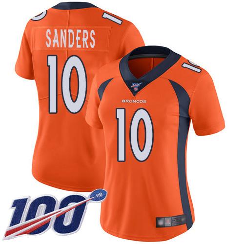 Nike Broncos #10 Emmanuel Sanders Orange Team Color Women's Stitched NFL 100th Season Vapor Limited Jersey