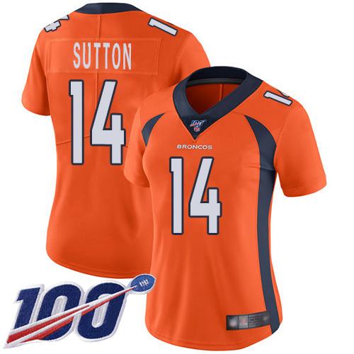 Nike Broncos #14 Courtland Sutton Orange Team Color Women's Stitched NFL 100th Season Vapor Limited Jersey