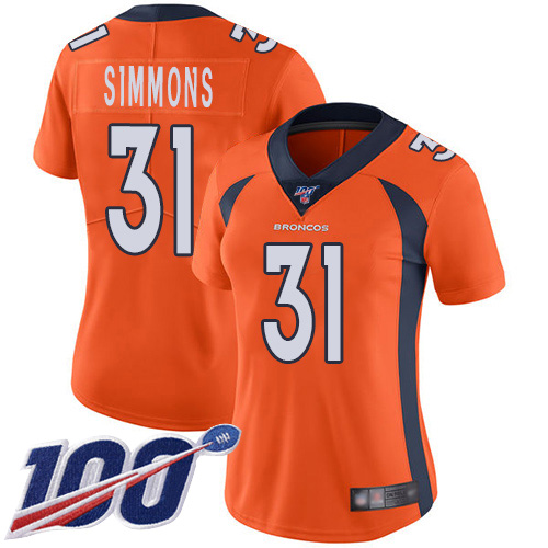 Nike Broncos #31 Justin Simmons Orange Team Color Women's Stitched NFL 100th Season Vapor Limited Jersey