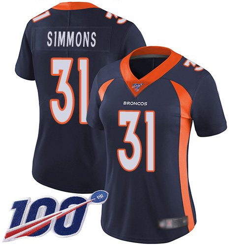 Nike Broncos #31 Justin Simmons Navy Blue Alternate Women's Stitched NFL 100th Season Vapor Limited Jersey