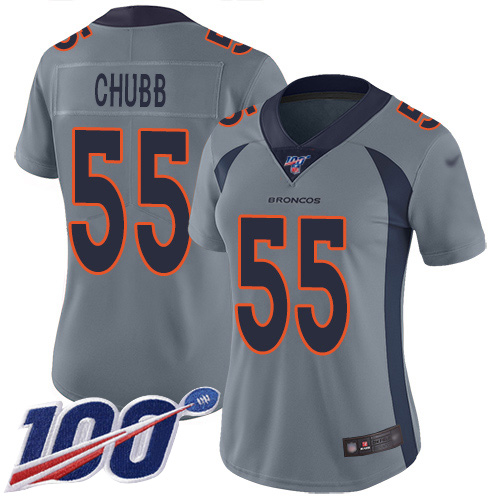 Nike Broncos #55 Bradley Chubb Gray Women's Stitched NFL Limited Inverted Legend 100th Season Jersey