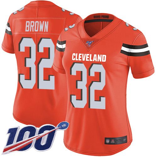 Nike Browns #32 Jim Brown Orange Alternate Women's Stitched NFL 100th Season Vapor Limited Jersey