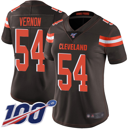 Nike Browns #54 Olivier Vernon Brown Team Color Women's Stitched NFL 100th Season Vapor Limited Jersey