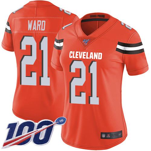 Nike Browns #21 Denzel Ward Orange Alternate Women's Stitched NFL 100th Season Vapor Limited Jersey