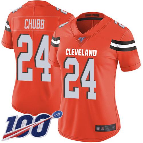 Nike Browns #24 Nick Chubb Orange Alternate Women's Stitched NFL 100th Season Vapor Limited Jersey