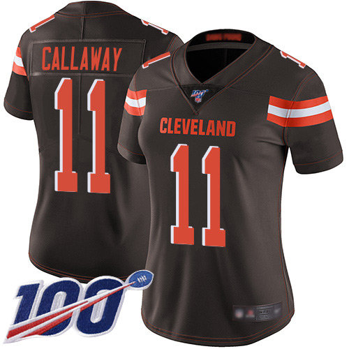 Nike Browns #11 Antonio Callaway Brown Team Color Women's Stitched NFL 100th Season Vapor Limited Jersey
