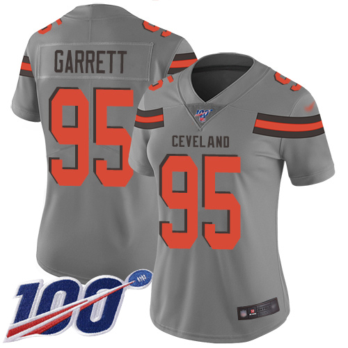 Nike Browns #95 Myles Garrett Gray Women's Stitched NFL Limited Inverted Legend 100th Season Jersey