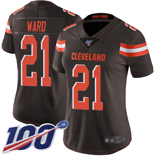 Nike Browns #21 Denzel Ward Brown Team Color Women's Stitched NFL 100th Season Vapor Limited Jersey