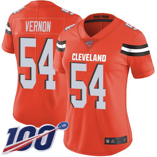 Nike Browns #54 Olivier Vernon Orange Alternate Women's Stitched NFL 100th Season Vapor Limited Jersey